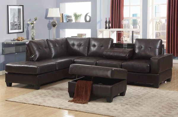 2300 Brown Leather Sectional Storage Ottoman Discount Furniture Atlanta Sectionals 399