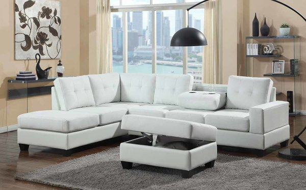 2301 WHITE LEATHER SECTIONAL STORAGE OTTOMAN Quality Products