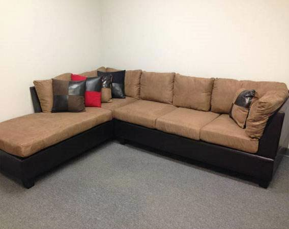 Tan microfiber sectional with brown leather base for Affordable furniture atlanta
