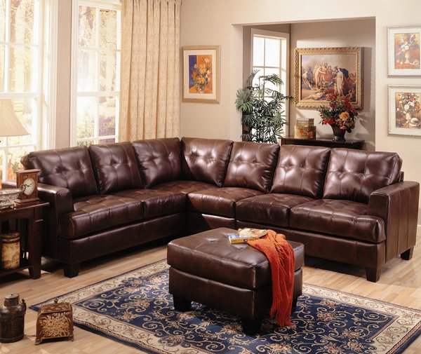 B2754 brown leather sectional optional ottoman for Affordable furniture atlanta