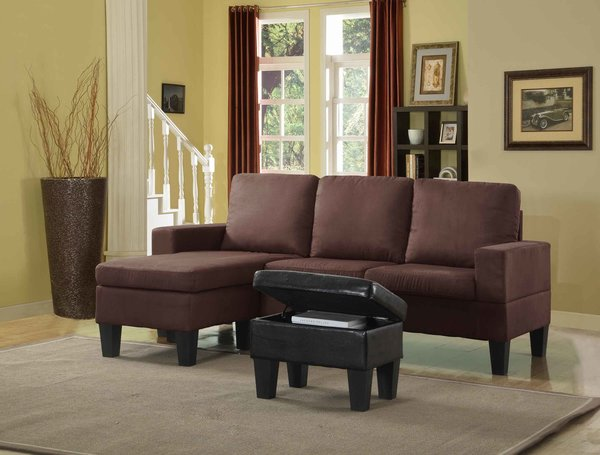 2350 chocolate microfiber mini sectional ottoman for Affordable furniture 3 piece sectional in jesse cocoa