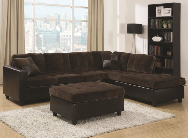 B2740 chocolate velvet sectional with pillows optional for Affordable furniture atlanta