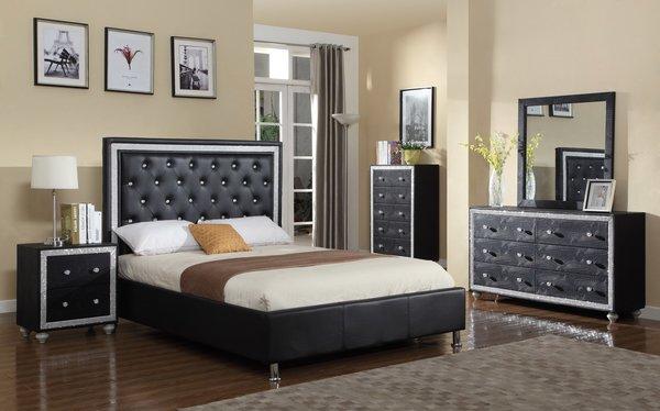 7180 Qn 4pc Queen Black Rhinestone Bed Dresser Mirror Nstand Discount Furniture Atlanta
