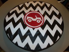 Chevron Monogram Spare Tire Cover Red Jeep