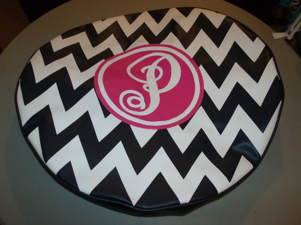 chevron monogram spare tire cover sc p