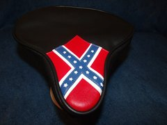 Beach Cruiser Seat Upholstery Black With Rebel Flag Front