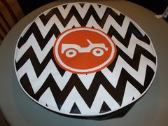 Chevron Monogram Spare Tire Cover Orange Jeep