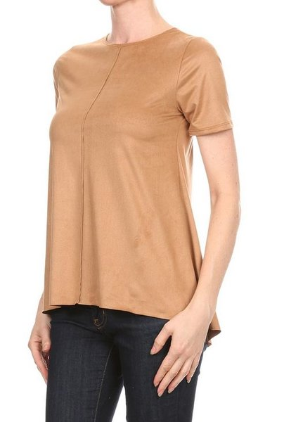 fall camel color top with a suede feel - Camel Color