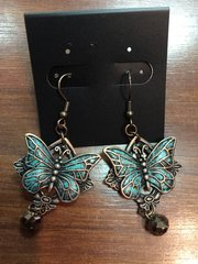 ISLAND EARRINGS COPPER AND TURQUIOSE BUTTERFLY