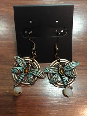 ISLAND EARRINGS COPPER AND TURQUIOSE DRAGONFLY