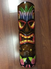 "TIKI SIGN TIKI MASK FLOWERS 20"" HAND PAINTED WOOD"