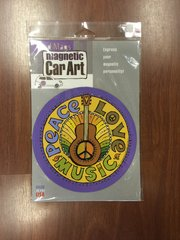 CAR MAGNET PEACE LOVE MUSIC SIGN