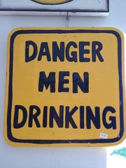 TIKI SIGN WOOD DANGER MEN DRINKING