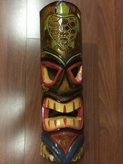 "TIKI SIGN TIKI MASK TURTLE 20"" HAND PAINTED WOOD"