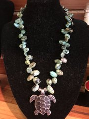 ISLAND NECKLACE by FEIFISH TURQUOISE STONES W/PEWTER TURTLE