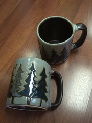 MARA 16 OZ CERAMIC MUG PINE TREES