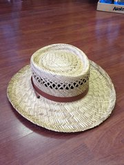 STRAW BEACH/GOLF HAT FOR MEN W/ LEATHER BAND