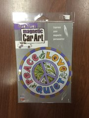 CAR MAGNET PEACE LOVE QUIET SIGN