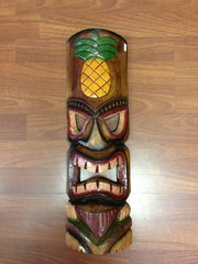 "TIKI SIGN TIKI MASK PINEAPPLE 20"" HAND PAINTED WOOD"