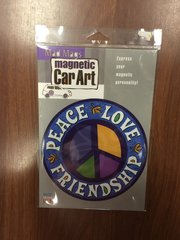 CAR MAGNET PEACE LOVE FRIENDSHIP SIGN