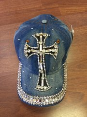BASEBALL CAP FOR WOMEN DENIN W/BLINGED OUT CROSS