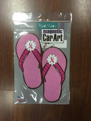 CAR MAGNET FLIP FLOPS BREAST CANCER PINK