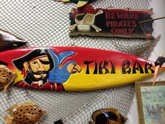 TIKI SIGN WOOD SURFBOARD TIKI BAR