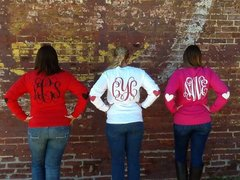 Monogrammed Valentines Shirt with Heart Elbow Patches