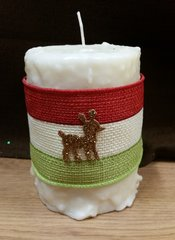 Large Vanilla burlap wrapped cake candle
