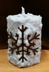 Large Blue snowflake cake candle