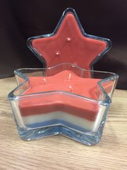 Triple Wick Star in Red,White, and Blue
