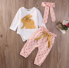 Infant Girls Gold Bunny Playsuit with Headband