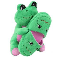 Sweet Girls Plush Toy Animal w/ Plush Slipper Gift Set, Green Frog