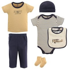 HUDSON BABY BOYS LAYETTE CLOTHING 6-PIECE SET, AIRPLANE