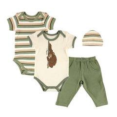 Hudson Baby 4 Pc Organic Animal Gift Set, Monkey