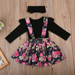 Baby Girls Black Long Sleeved Floral Romper Dress Set with Head Band
