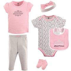 Hudson Baby Newborn Baby Girls 6 Piece Pink/Grey Layette Set