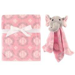 HUDSON BABY PLUSH BLANKET & SECURITY TOY BLANKET SET - GIRL ELEPHANT