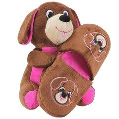 Sweet Girls Plush Toy Animal w/ Plush Slipper Set, Brown Dog