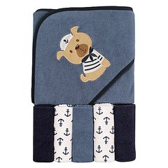 LUVABLE FRIENDS HOODED TOWEL AND WASHCLOTHS SET - DOG