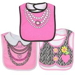 Little Beginnings Baby Girls 3-Pack Stylish Large Dress Up Bibs