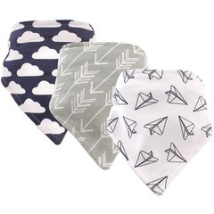Hudson Baby Bandana Bibs, 3 Pack, Paper Airplanes