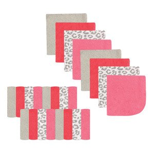 Luvable Friends Washcloths - 24 Count, Pink Leopard