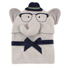 Hudson Baby Animal Face Hooded Towel, Boy Elephant