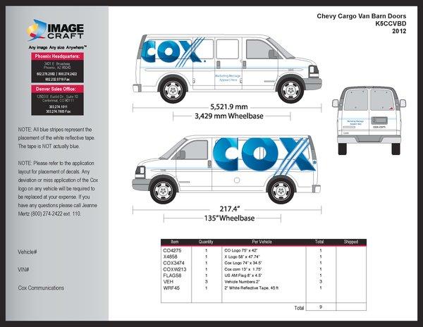 Chevy Cargo Van with Barn Doors- 2012 - Complete Kit