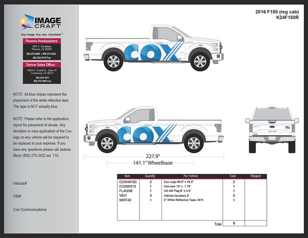Ford F150 Reg Cab 2016 - Complete Kit
