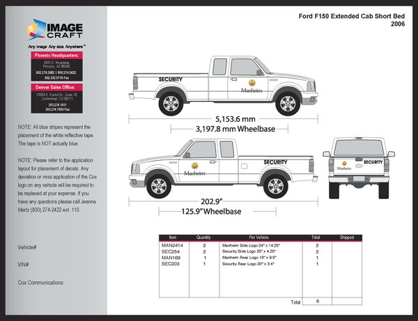 Ford F150 Extended Cab, SB 2006 - Manheim - Complete Kit