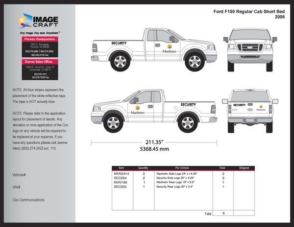 Ford F150 Regular Cab, SB 2006 - Manheim - Complete Kit