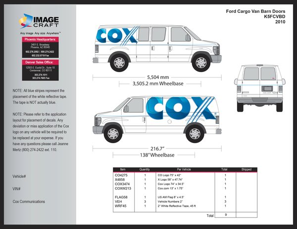 Ford Cargo Van, Barn Doors 2010 - Kit