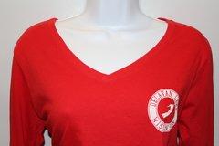 Women's Long Sleeve V-Neck - Red